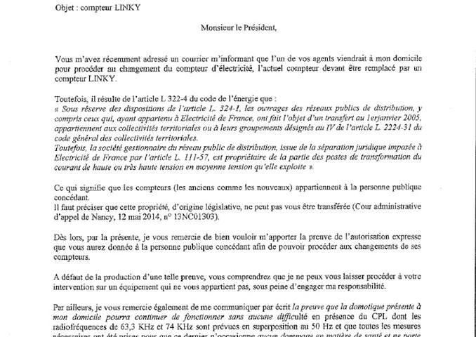 Exemple De Lettre De Refus Pour Le Changement Du Compteur Electrique