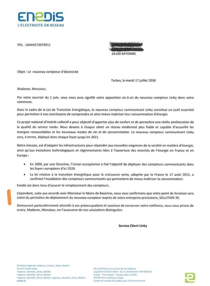 lettre d u0026 39 enedis acceptant de ne pas poser le linky chez un